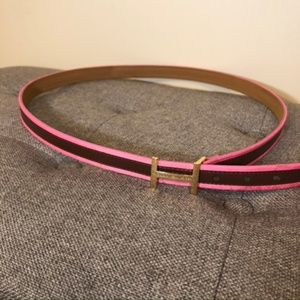 "Brown Leather w/ Pink Trim H Buckle 1"" Belt"